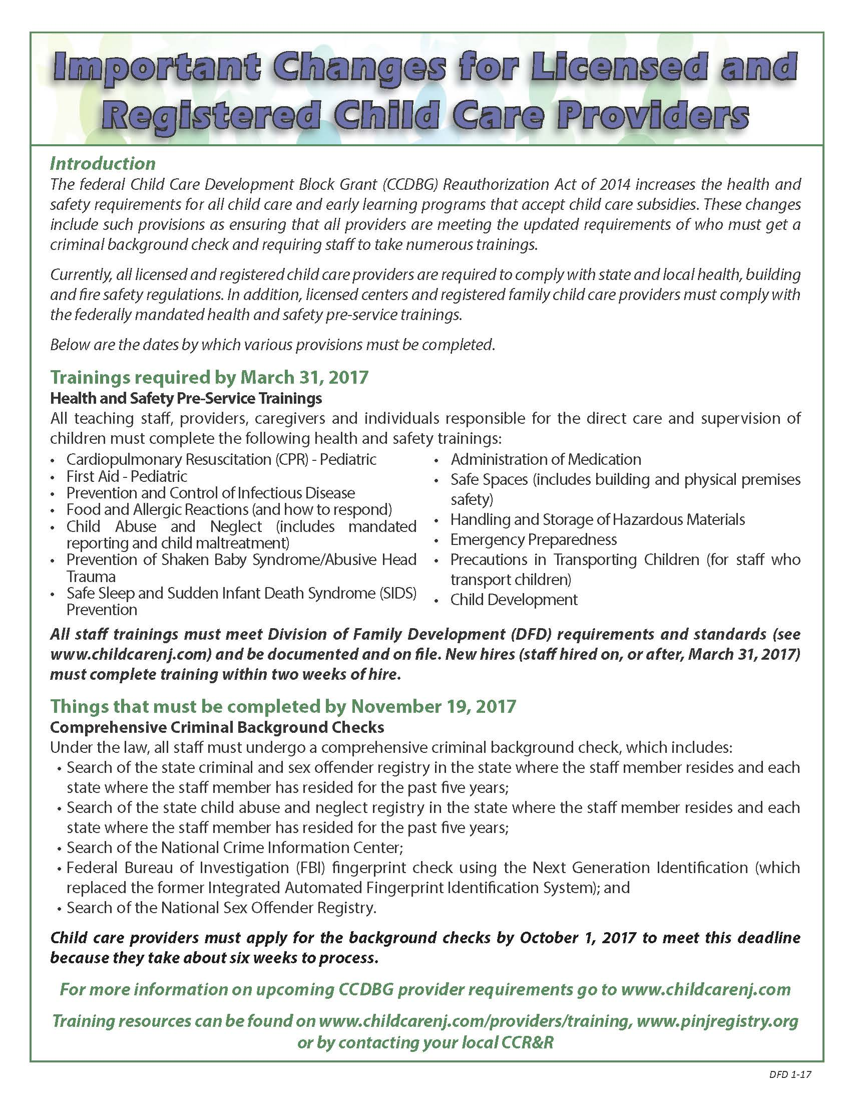 Required health and safety training for ccdbg reauthorization licensed and registered health safety flyer 2 13page1 xflitez Choice Image
